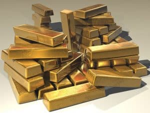a pile of gold bars.