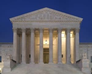 U.S. Supreme Court building at dusk.