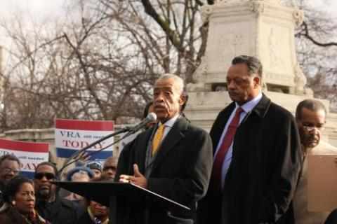 The Rev. Al Sharpton,left,speaks to protesters outside the Supreme Court alongside The Rev. Jesse Jackson on Wednesday. The NAACP and other civil rights groups fear the repeal of Section 5 of the 1965 Voting Rights Act would undo decades of racial inclusion measures at the polls.