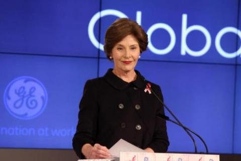 Former first lady Laura Bush calls on women to be at the forefront of health care and education. She spoke Monday in Washington at a global women's cancer summit. SHFWire Photo by EddieAmeh