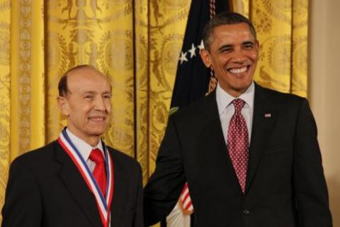 Dr. Gholam Peyman, the inventor of Lasik eye surgery, receives the National Medal of Technology and Innovation from President Barack Obama on Friday in the East Room of the White House. SHFWire Photo by Amy Slanchik.